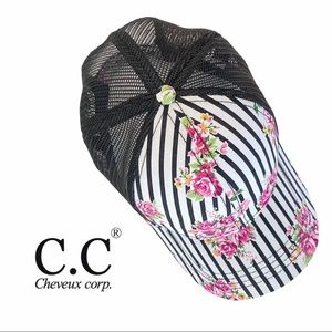 C.C. Floral and Pinstripe Print Mesh Trucker Hat
